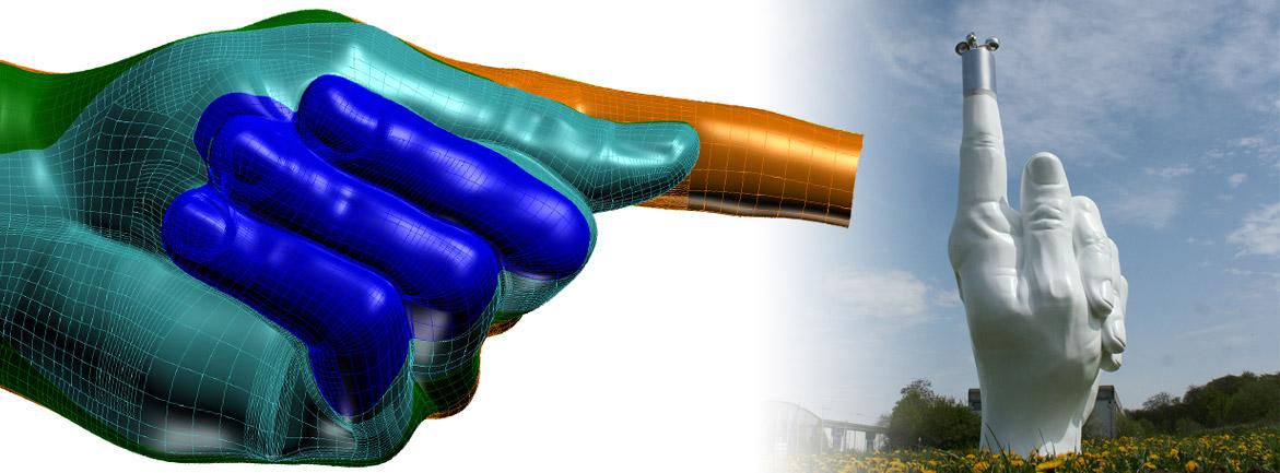 Kunstwerk Windfinger aus GFK