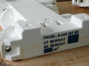 Styropor Gießereimodell mit Beschriftung